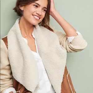 Anthropologie Sherpa Moto Suede Sweater Jacket
